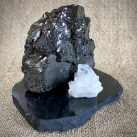 Elite Shungite Nugget, 354g, on Shungite Slab w/Quartz Crystal Cluster