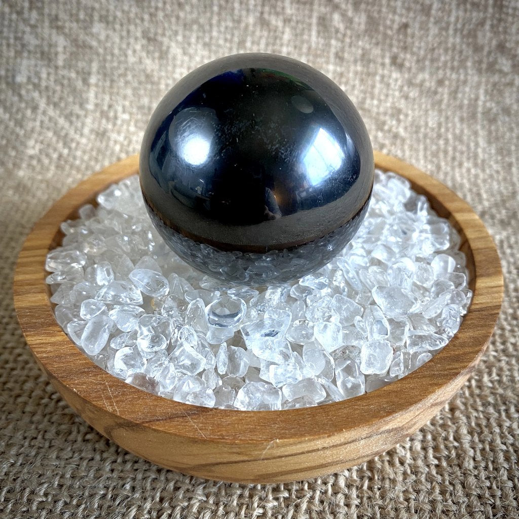 Shungite Sphere on Bed of Microtumbled Crystal in Olive Wood Bowl, EMF
