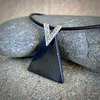 EMF Protective Necklace w/Triangular Shungite Pendant, V-Shaped Bale