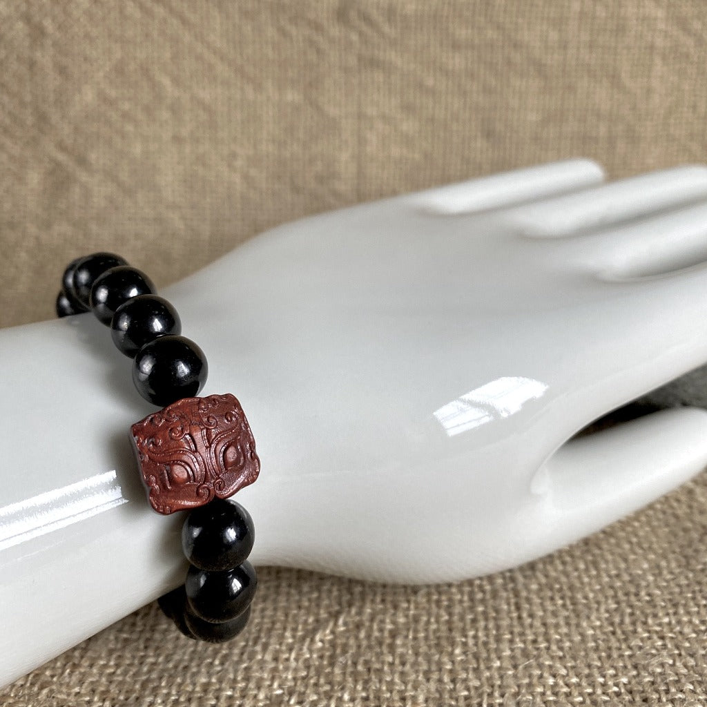 Chunky Shungite Bracelet, Carved Sandalwood Bead, Pyrite, Dragon