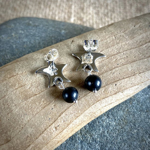 Shungite & Sterling Silver Starfish Post Earrings, EMF Protection