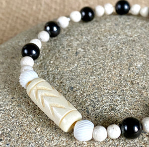Shungite Bracelet, Carved Bone Bead, White Fossil Beads, Stretchy