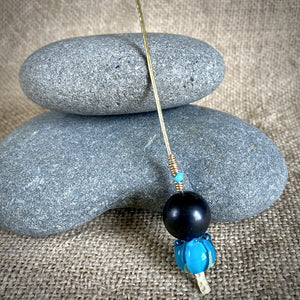 Shungite Plant Stake With Artisan Lampwork Glass Blue Flower Bead