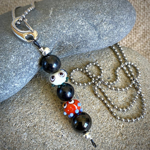 Triple Shungite, Double Squeedle Necklace & Clip-On, EMF for Kids