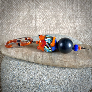 Shungite Cat Clip-On, Orange & Blue, Lampwork Glass, Fun EMF Protection - Shungite Queen