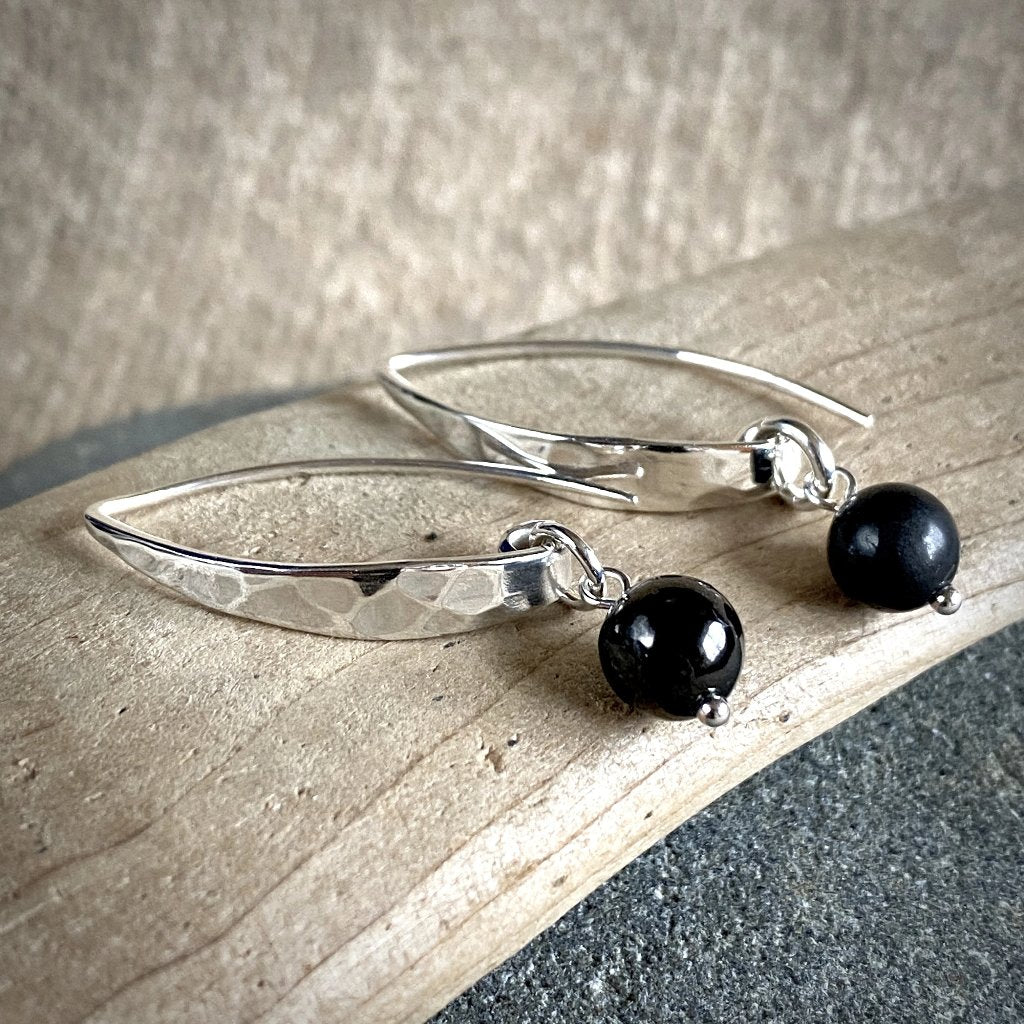 Shungite Earrings, Hammered Sterling Silver, Contemporary, EMF