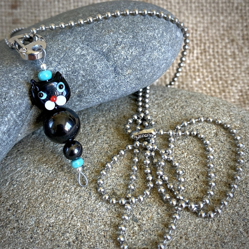 Black Cat Shungite Necklace on Silver Ball Chain, Clip-On EMF Accessory, Kids
