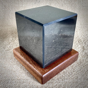 Shungite Cube, 4 Inch (100 mm), Custom Mahogany Stand, EMF Protection - Shungite Queen