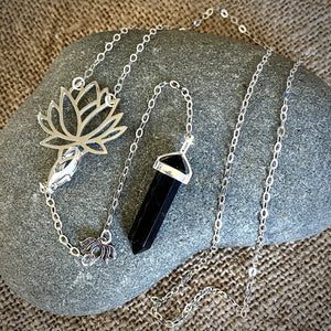 Black Shungite Pendulum, Necklace, Sterling Silver, Dowsing, Lotus