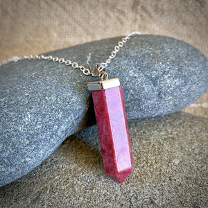Thulite Point Pendant, Sterling Silver, Introvert's Little Helper