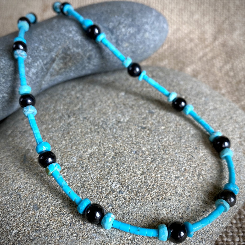Genuine Turquoise & Black Shungite Necklace, 18 Inches, OOAK