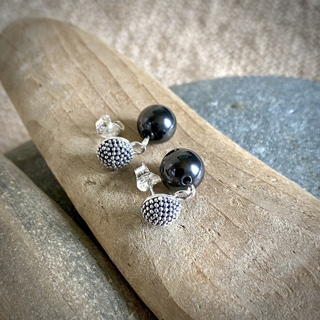 Shungite & Sterling Silver Post Earrings, Bumpy Domes, EMF Protection
