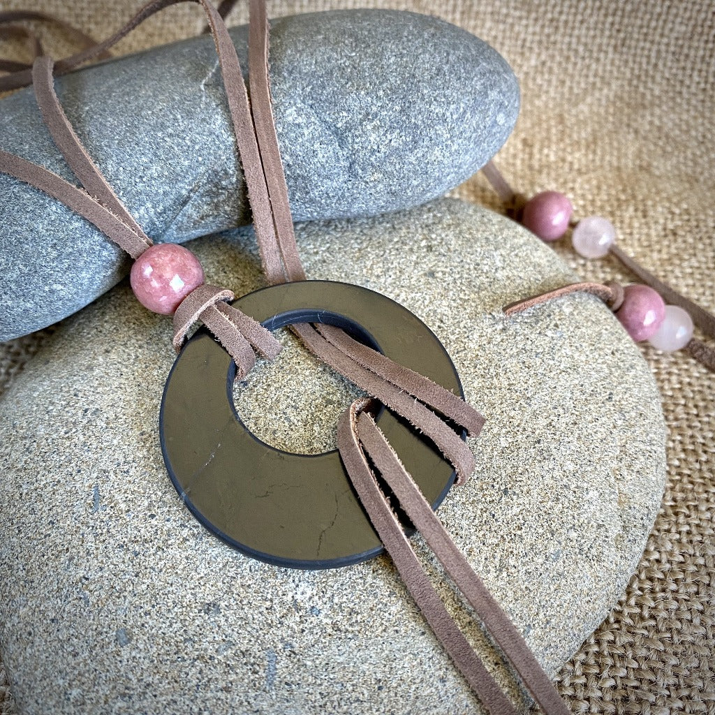 Lariat Style Shungite Necklace With Rhodonite & Rose Quartz