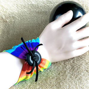 Wide Rainbow Arm Band, Shungite Donut, Wrist Tattoo Cover, EMF - Shungite Queen