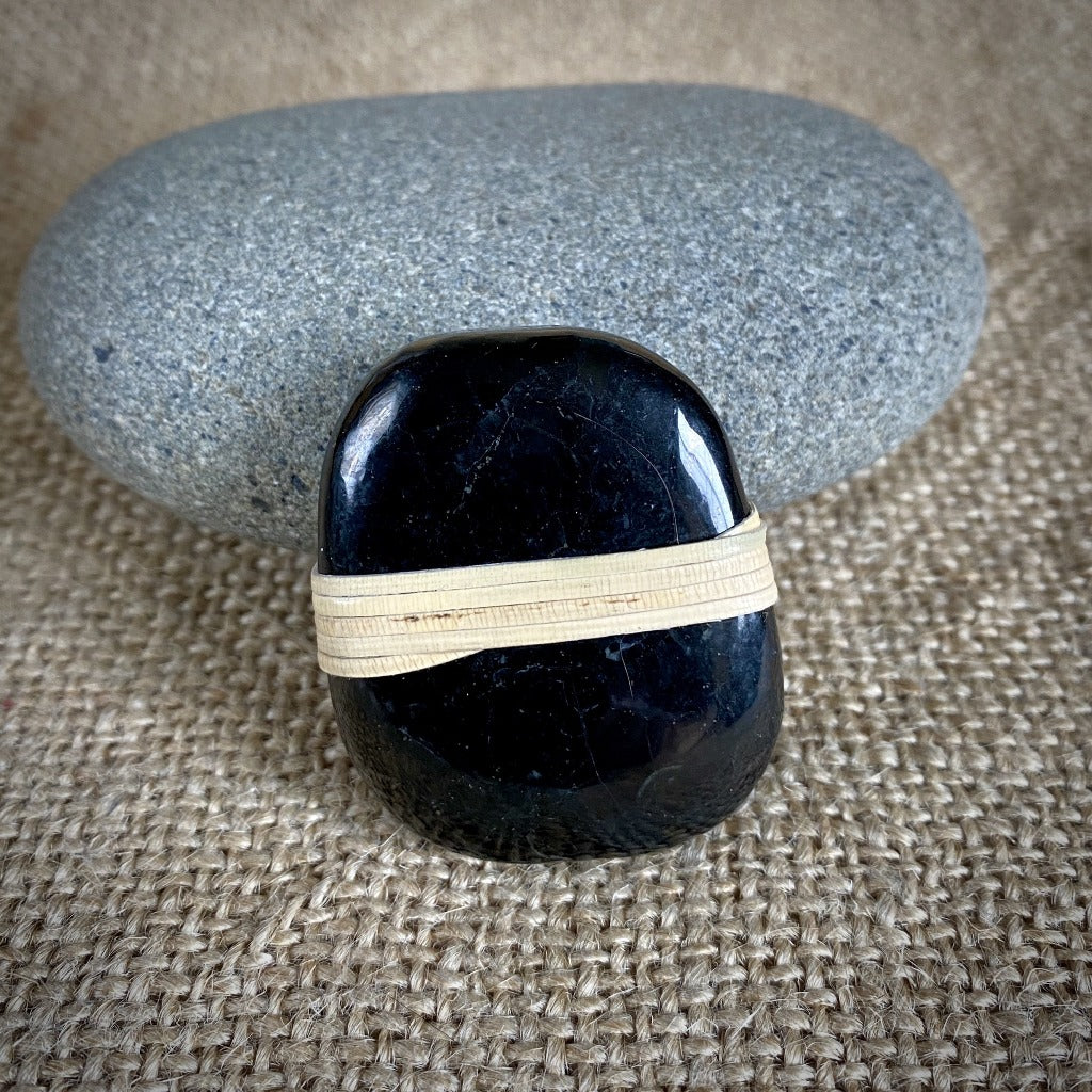 Wrapped Shungite Palm Stone, Natural Cane, EMF Protection