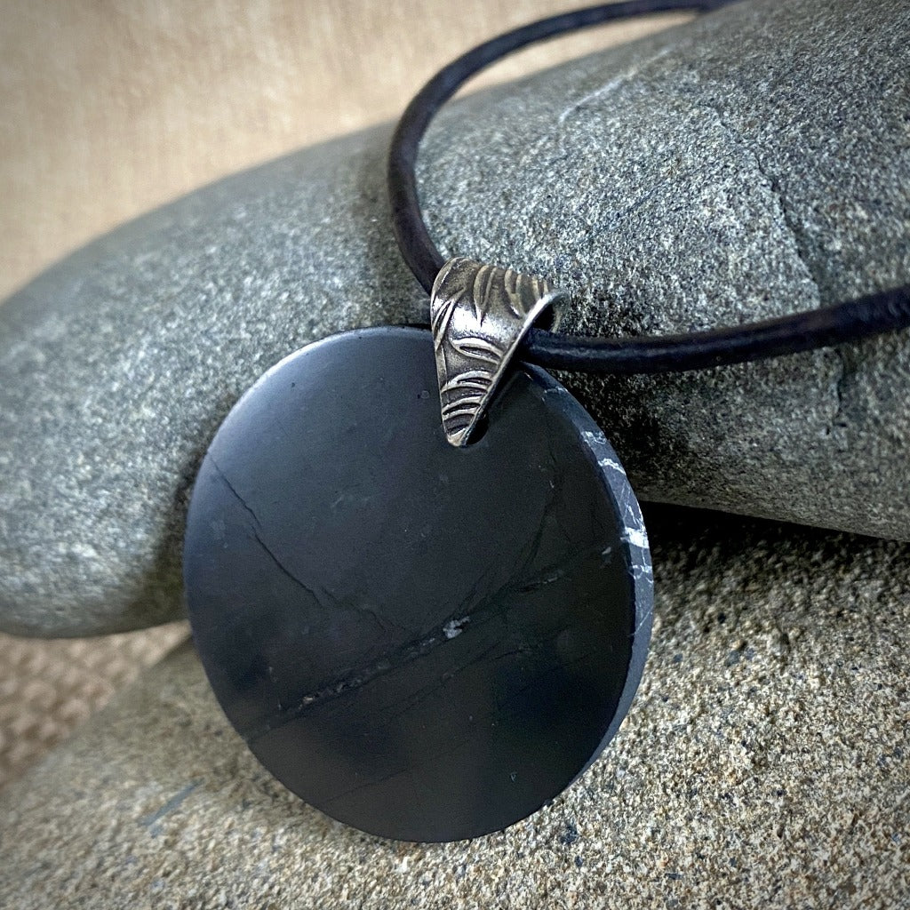 EMF Necklace w/Round Shungite Disk, Shungite Pendant, Circle - Shungite Queen