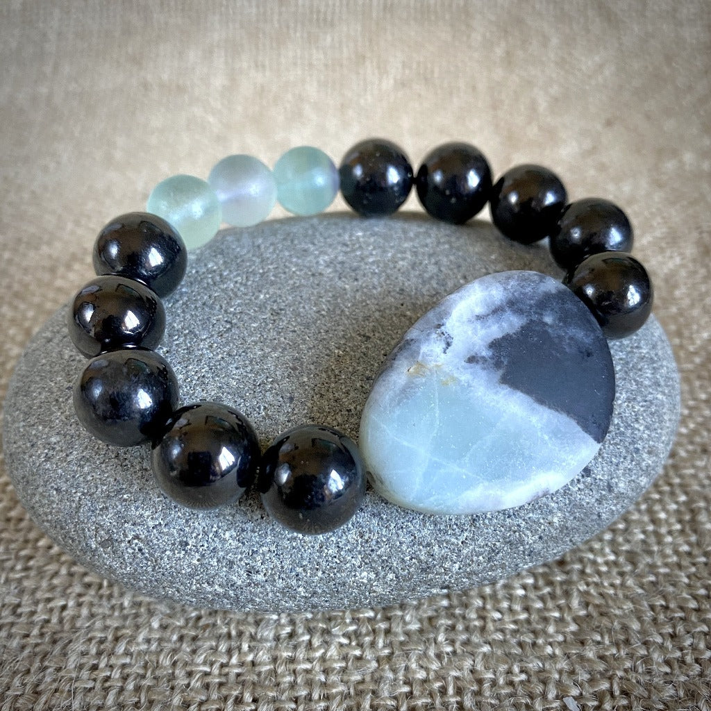 Chunky Shungite Bracelet With Large Amazonite Oval & Fluorite Beads