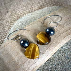 Tiger's Eye & Shungite Earrings, EMF Protection & Balance - Shungite Queen