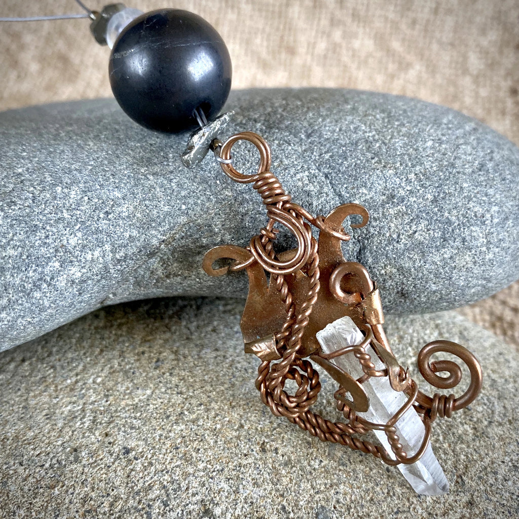 Shungite, Pyrite, Fluorite, Ornament w/Quartz Crystal in Copper Setting