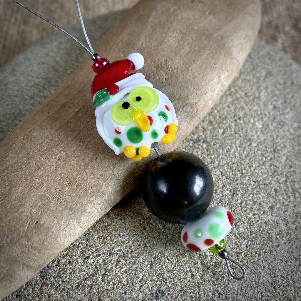 Adorable Christmas Owl & Shungite Ornament, Polka Dots & Christmas Hat - Shungite Queen