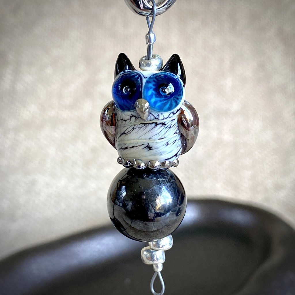 Blue-Eyed Owl & Shungite Clip-On, Necklace, Artisan Lampwork Glass Bead