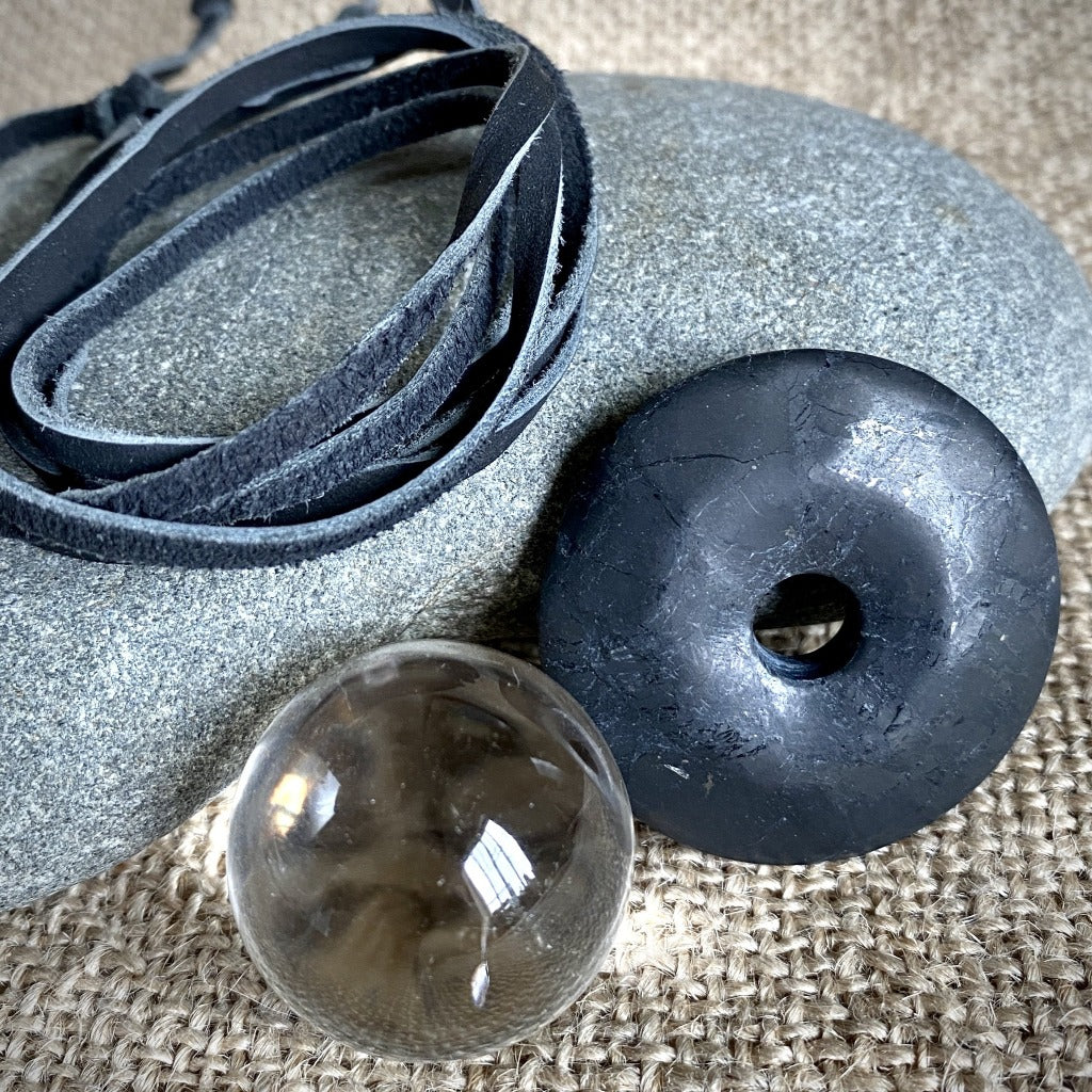 Shungite Donut Pendant w/Clear Quartz Crystal Ball, Multifunction Set