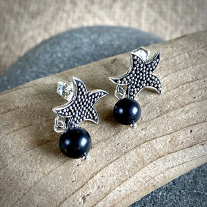 Shungite & Sterling Silver Starfish Post Earrings, EMF Protection - Shungite Queen