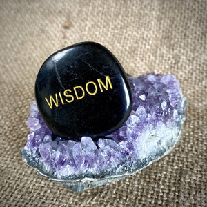 "Black Shungite Palm Stone ""Wisdom"" on Druzy Amethyst Geode"