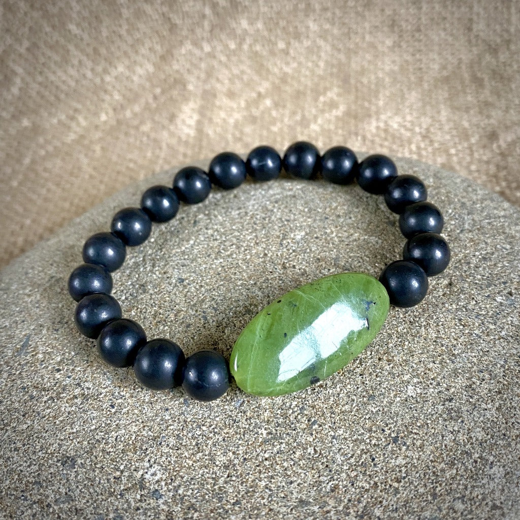 Shungite Bracelet, Large Oval Green Jade Focal Bead, Stretchy