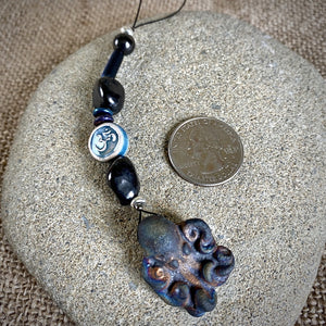 Hangable Shungite Accessory w/Raku Octopus & Ceramic Om Bead