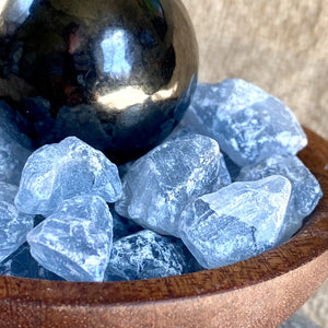 Shungite Sphere & Celestite in Custom Wood Bowl, EMF & Spiritual Detox - Shungite Queen