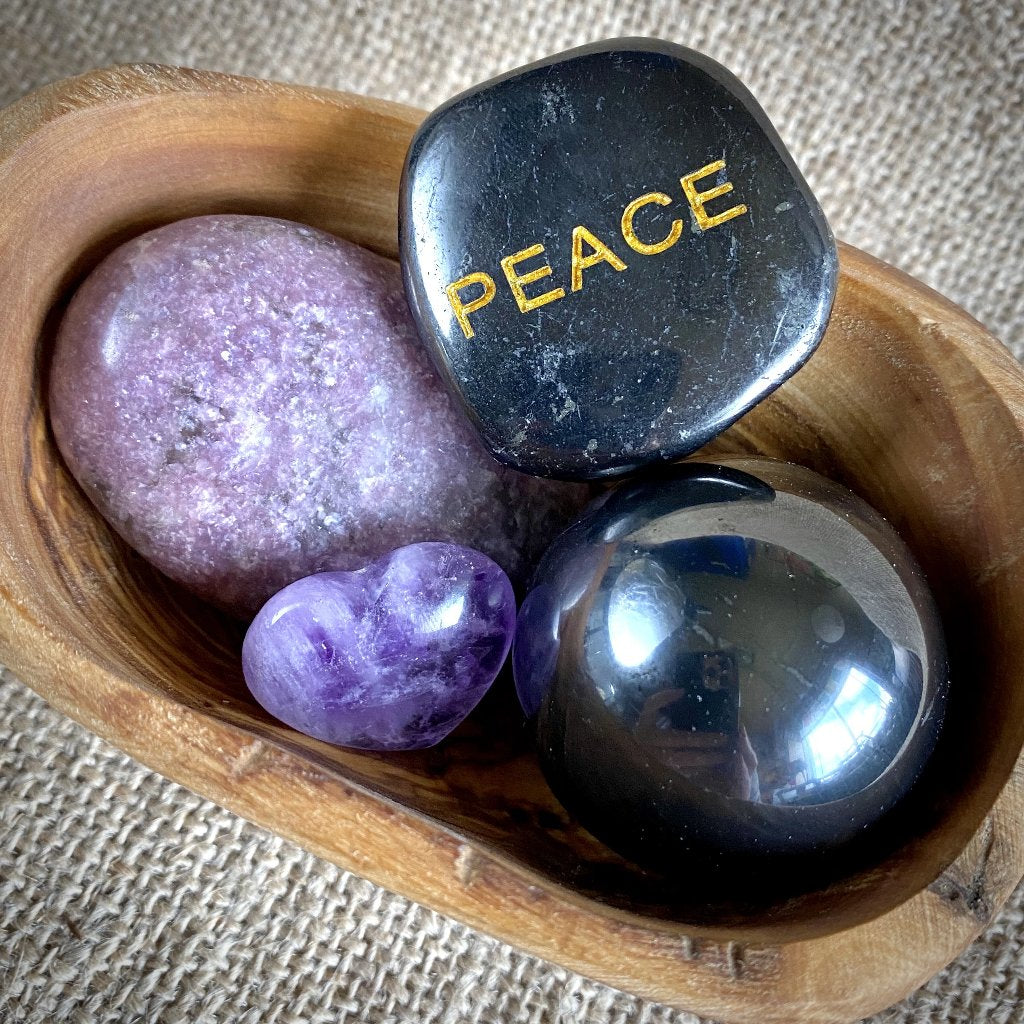 "Shungite, Lepidolite, Amethyst, ""Peace"" Garden, Rustic Olive Wood Bowl"