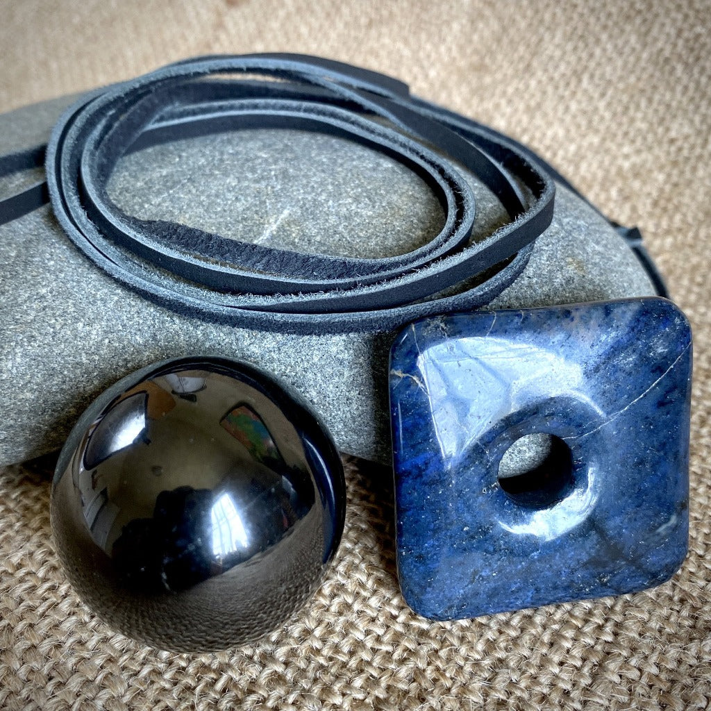 Dumortierite Pendant w/Genuine Shungite Sphere, Multifunction Set