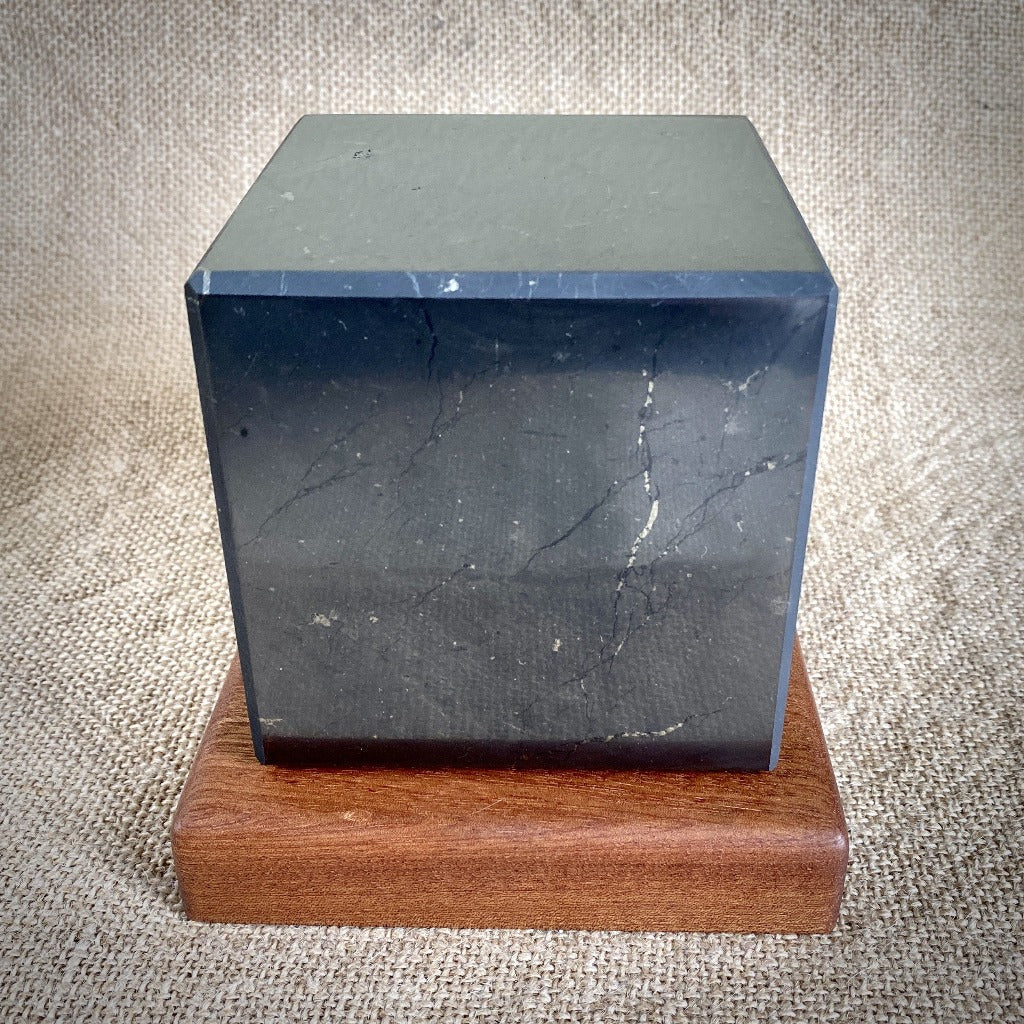Shungite Cube, 4 Inch (100 mm), Custom Mahogany Stand, EMF Protection