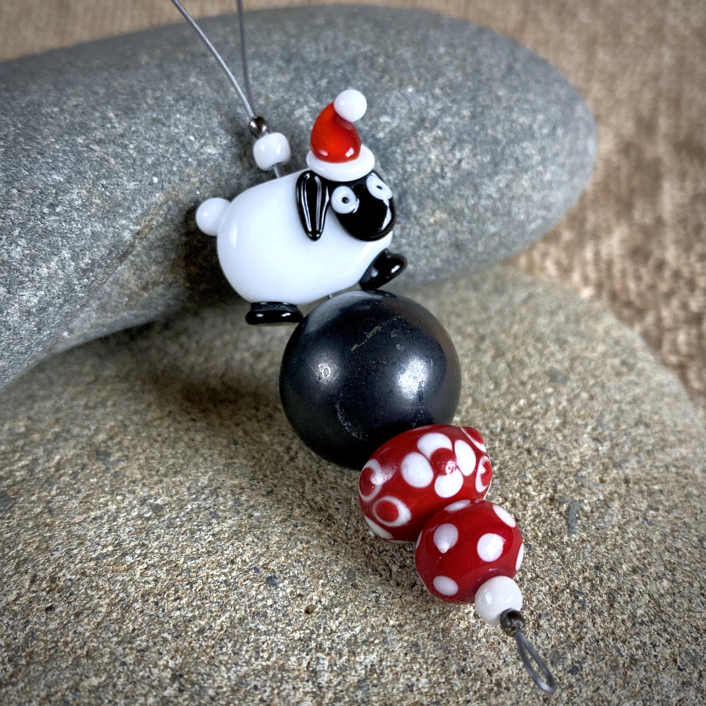 Sheep w/Christmas Cap, Handcrafted Lampwork Bead Shungite Ornament