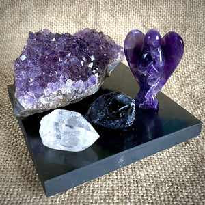 Amethyst Angel, Geode, Quartz Crystal, Apache Tear, Black Shungite Tile