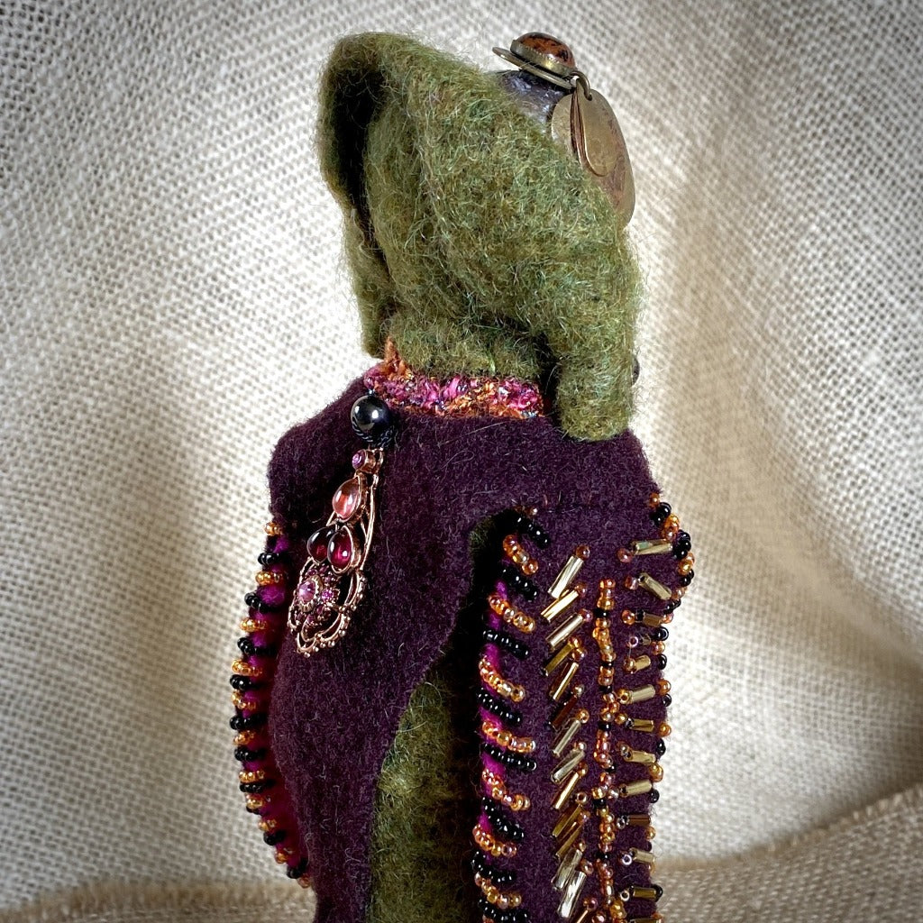 Vintage Shungite Bird Doll, Olive Green & Burgundy, Upcycled Wool, Beaded - Shungite Queen