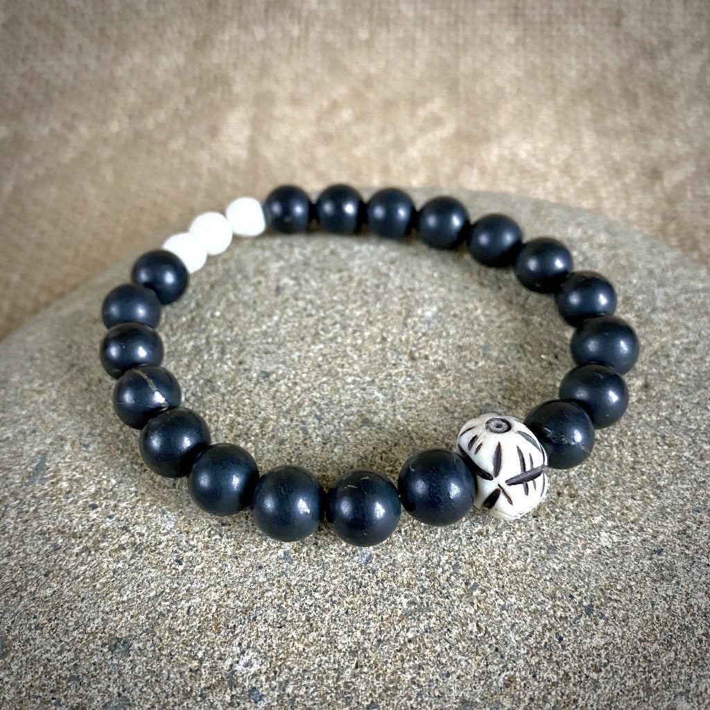 Shungite Bracelet, Carved Bone Beads, Black and White, Stretchy