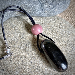 Shungite & Rhodonite Rearview Mirror Dangle, Car Accessory, EMF, Love