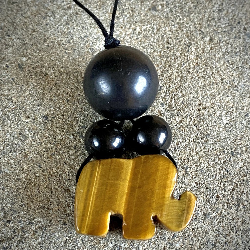 Shungite & Yellow Tiger's Eye Elephant Wall Hanging - Shungite Queen