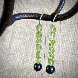 Shungite and Peridot Threader Earrings, Holiday Cheer, EMF Protection