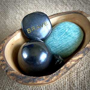 "Shungite, Amazonite, Apache Tear, ""Brave"" Garden in Rustic Olive Wood Bowl - Shungite Queen"