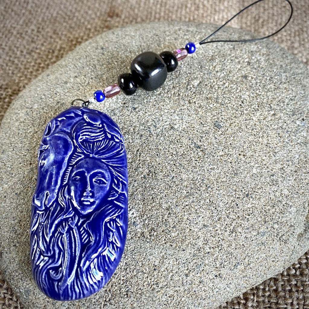 Hangable Shungite Accessory w/Ceramic Horse Maiden, Blueish Purple - Shungite Queen
