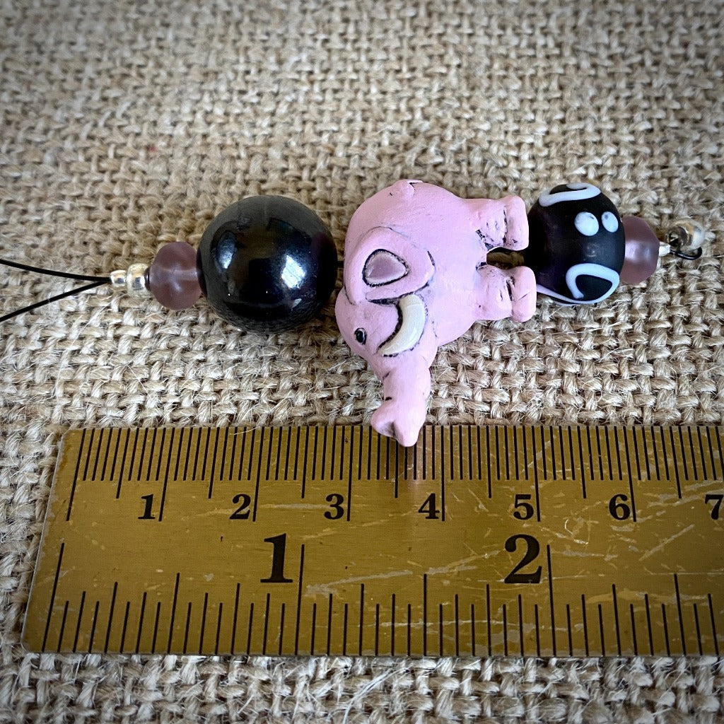 Shungite Wall Hanging With Pink Ceramic Elephant & Glass Beads