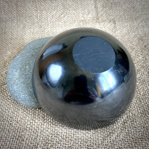 Elite Shungite Stones & Selenite Sphere in Carved Black Shungite Bowl - Shungite Queen