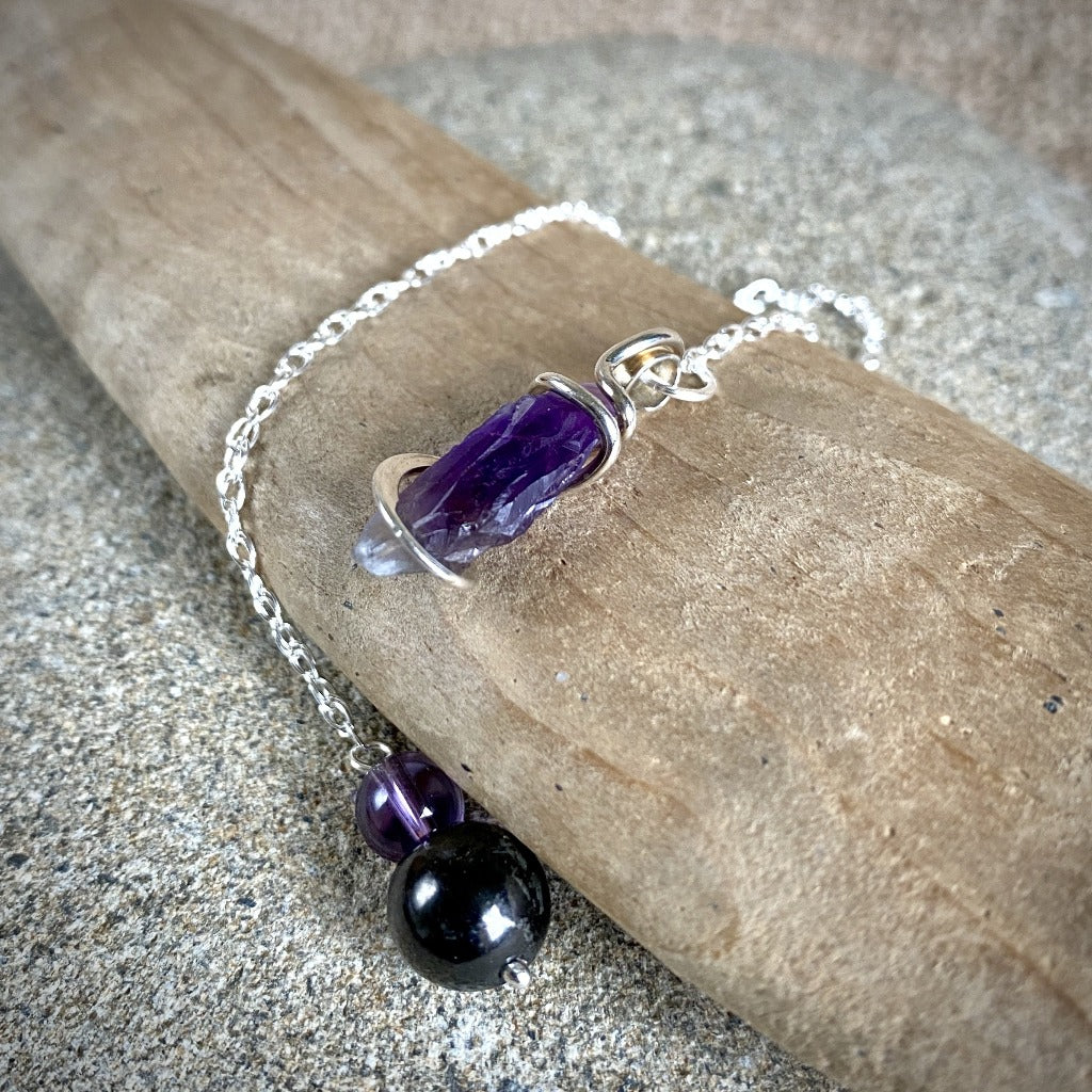 Amethyst Pendulum w/Shungite & Amethyst Beads, Sterling Silver Chain - Shungite Queen