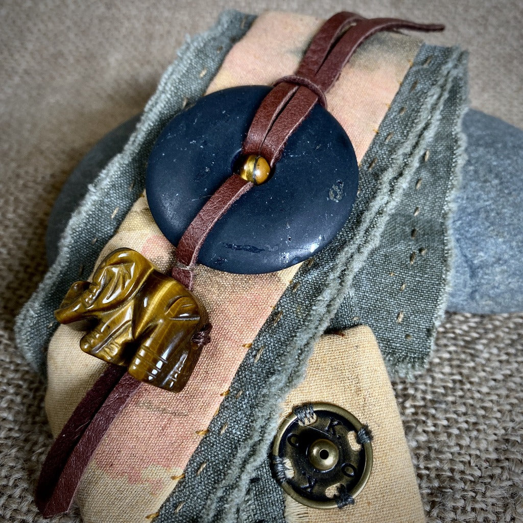 Green Denim Cuff Bracelet, Shungite Donut, Tiger's Eye Elephant - Shungite Queen