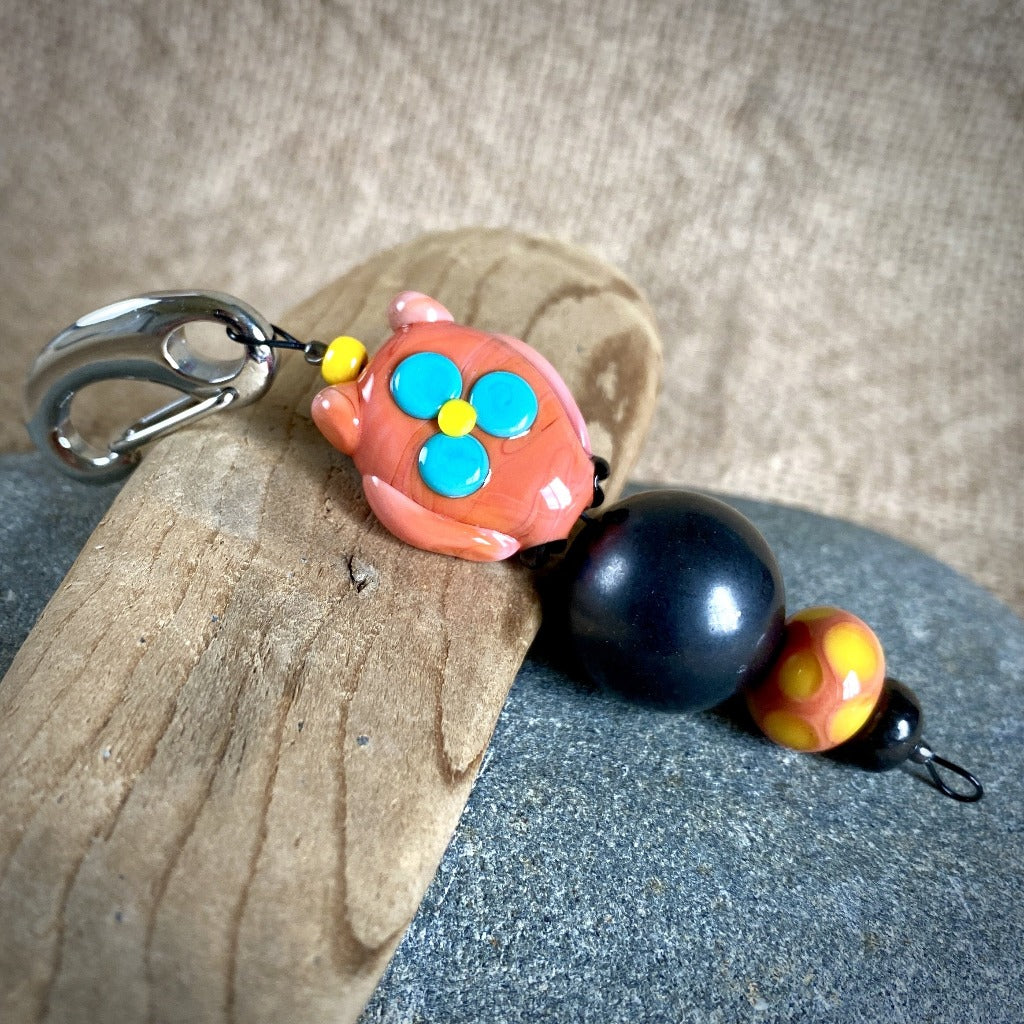 Shungite Owl Clip-on, Orange & Yellow, Artisan Lampwork Glass Bead - Shungite Queen