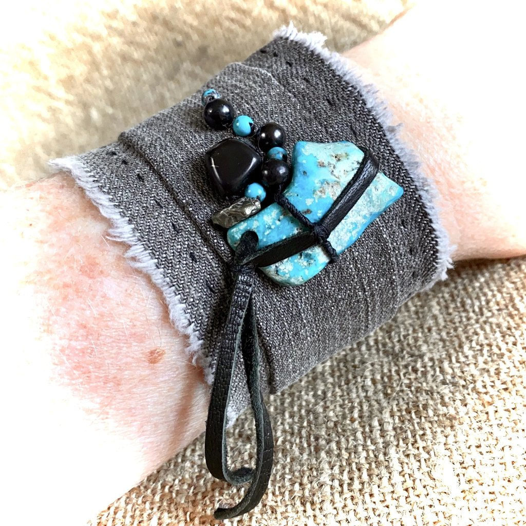 Gray Denim Cuff Bracelet, Shungite, Turquoise, Pyrite, Black Leather - Shungite Queen