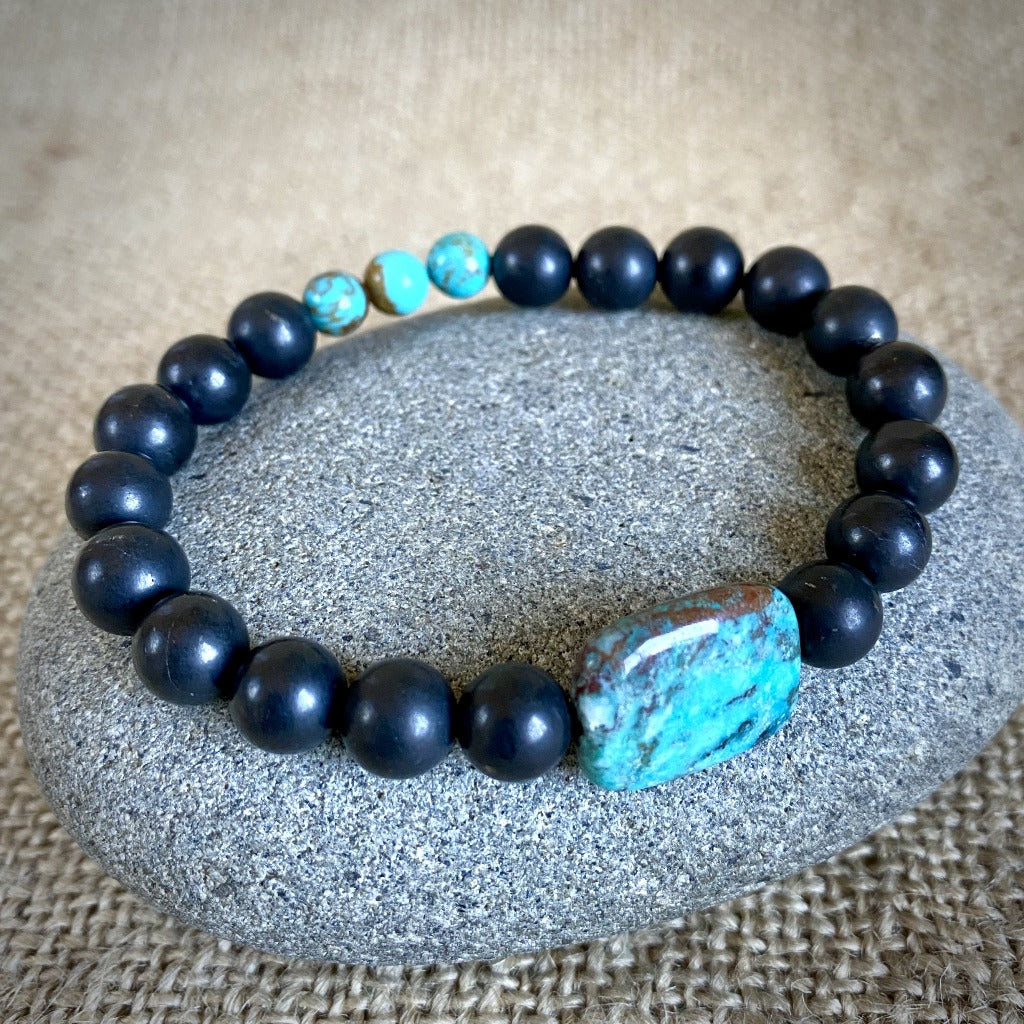 Shungite Bracelet With Chrysocolla Oval & Genuine Turquoise Beads